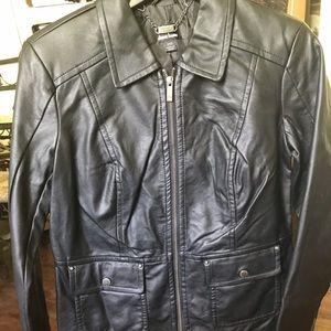Dennis basso black leather jacket